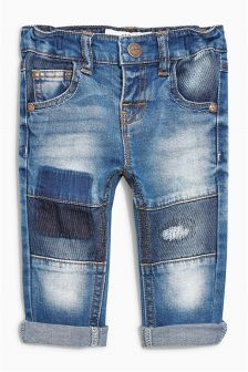 Mid Blue Denim Patch Jeans (3mths-6yrs)