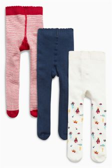 Navy/Red/Ecru Harvest Tights Three Pack (0mths-2yrs)
