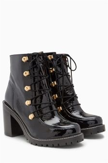Black Leather 90s' Style Lace Up Platforms