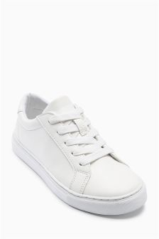 White Clean Lace Up Shoes (Older Boys)