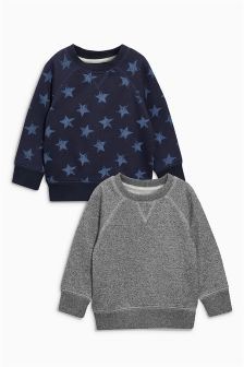 Navy/Grey Star Print Crew Neck Two Pack (3mths-6yrs)
