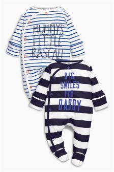 Navy/White Stripe Mummy And Daddy Sleepsuits Two Pack (0mths-2yrs)