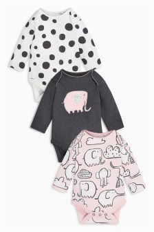Pink/Grey Elephant All Over Print Long Sleeve Bodysuits Three Pack (0mths-2yrs)