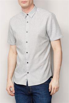 White Short Sleeve Textured Shirt