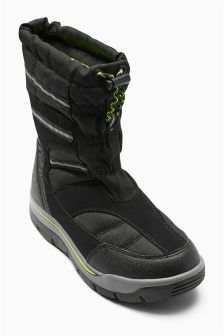 Black Snow Boots (Older Boys)