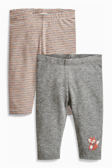 Grey Stripe Leggings Two Pack (0mths-2yrs)