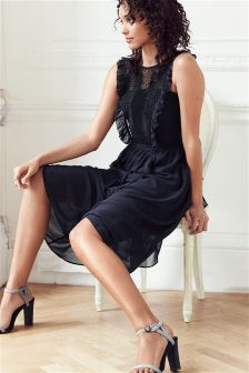 Navy/Black Lace Detail Dress