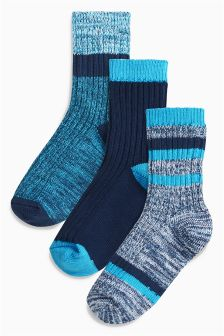 Blue Boot Socks Three Pack (Older Boys)