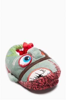 Green 3D Monster Head Slippers (Older Boys)