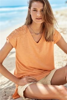 Embellished Shoulder Longline Tee