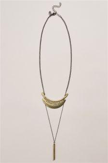 Gunmetal Gold Bar Detail Layered Necklace