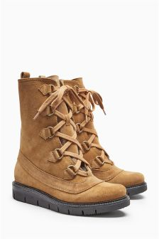 Tan Suede Lace-Up Boots