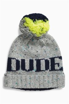 Navy/Grey Cool Dude Beanie (Younger Boys)