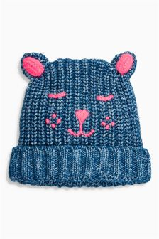 Blue Embroidered Cat Hat (Younger Girls)