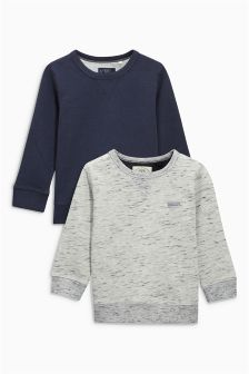 Navy/Grey Textured Crew Neck Sweaters Two Pack (3-16yrs)