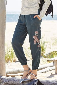 Charcoal Embroidered Cargo Trousers