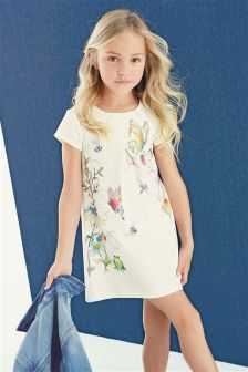 Ecru Printed Ponte Dress (3-16yrs)