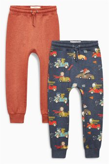 Rust/Navy Printed Skinny Joggers Two Pack (3mths-6yrs)