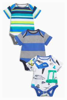 White/Blue Transport Short Sleeve Bodysuits Three Pack (0mths-2yrs)
