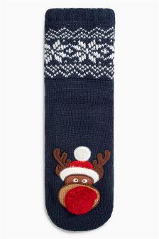 Navy Reindeer Socks (Older Boys)