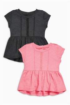 Pink/Charcoal Tops Two Pack (0mths-2yrs)
