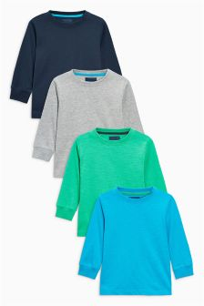 Navy/Green/Blue/Grey Long Sleeved Tops Four Pack (3mths-6yrs)