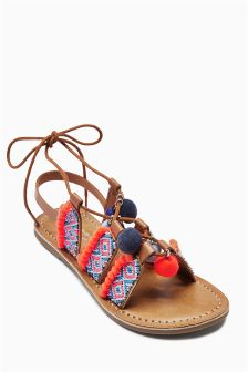 Blue Pom Pom Sandals (Older Girls)