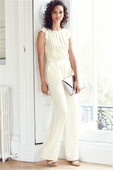 Cream Frill Jumpsuit