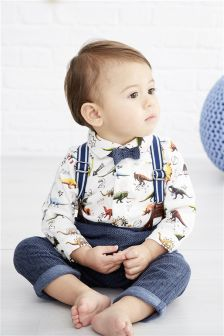 Multi Dinosaur Braces Three Piece Set (0mths-2yrs)
