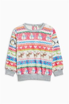 Multi Fairisle Pattern Fleece Crew (3mths-6yrs)