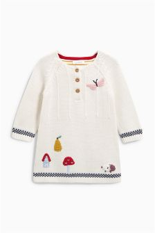 Ecru Embroidered Knitted Dress (0mths-2yrs)