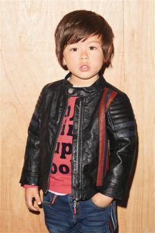 Black Mock Leather Motocross Jacket (3mths-6yrs)