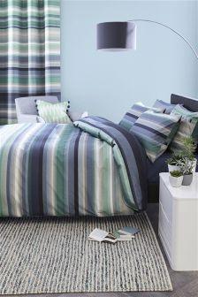 2 Pack Teal Stripe Bed Set