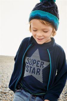 Navy Super Star Long Sleeve Top (3mths-6yrs)