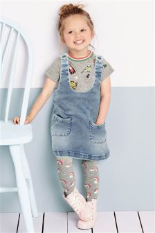 Denim Pinafore, Top And Tights Three Piece Set (3mths-6yrs)