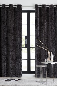 Crushed Velvet Eyelet Curtains