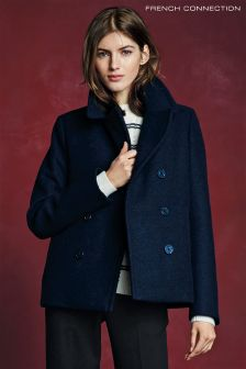 French Connection Navy Sailor Wool Double Breasted Coat