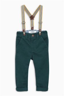 Green Braced Chinos (3mths-6yrs)