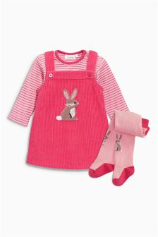 Raspberry Cord Dress, Bodysuit And Tights Set (0-18mths)