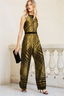 Black/Gold Devoré Jumpsuit