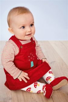 Red Cord Dress, Bodysuit And Tights Set (0mths-2yrs)