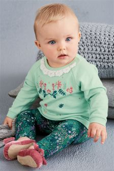 Mint Floral Tunic And Leggings Set (0mths-2yrs)