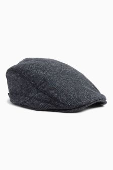 Blue/Grey Check Flat Cap