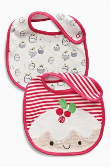 Red Christmas Pudding Bibs Two Pack