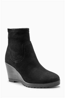 Black Sock Wedge Boots