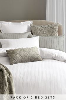 2 Pack 210 Thread Count Cotton Woven Stripe Bed Set