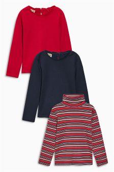 Navy/Red/Stripe Long Sleeve T-Shirts Three Pack (3mths-6yrs)