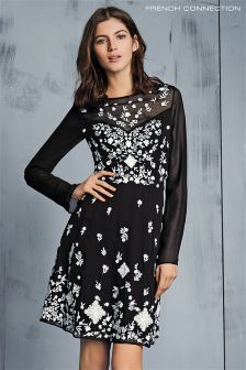 French Connection Black/White Midnight Garden Embroidered Flared Dress