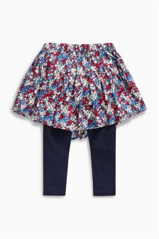 Blue Ditsy Print Skort With Leggings (3-16yrs)