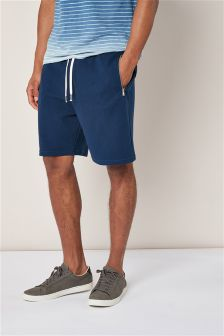 Navy Textured Jersey Shorts